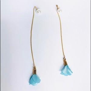 New! Blue Petals Flower Chain Drop Pearl Earrings